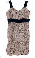 Jacqui E Womens Black with Peach Lace Overlay Sleeveless Lined Dress Size 14