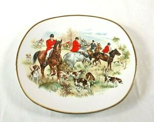 Vintage Dinner Plates Liverpool Road Pottery Hunting Horse and Hound Scene 2 Ava