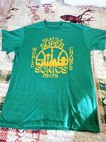 Vintage Green Seattle Supersonics 1978-79 NBA World Champs T-Shirt Size Large