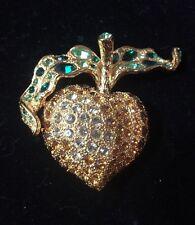 Vintage KENNETH JAY LANE  Pin Brooch Apple Green/Red/Clear Rhinestones