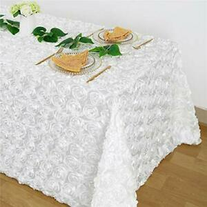 White Rosette Tablecloth Satin Raised 50x102 Inches Rectangle 3D Floral Table...