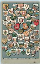 COATS OF ARMS of  States & Territories of AMERICAN UNION United States Postcard