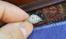 Antique Fine Estate Jewelry 18K White Gold Filigree Old Mine Cut Diamond Ring