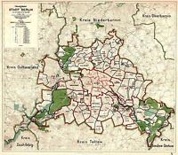 MAP ANTIQUE 1912 STRAUBE BERLIN CITY PLAN OLD LARGE REPLICA POSTER PRINT PAM0433