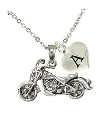 Custom Motorcycle Biker Chopper Silver Chain Necklace Choose Initial Charm