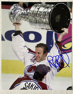 Rob Blake Colorado Avalanche Signed Photo Skating With Stanley Cup