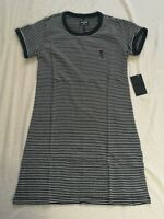 Hurley Women's Black White Rose Stripe Tee T-Shirt Dress Size XS New With Tags