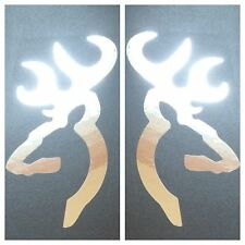 2 NEW CHROME BROWNING DEER BUCK DOE DECAL STICKER LOGO EMBLEM BOW RIFLE SHOOTING