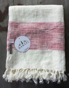 Darzzi 100% Linen Throw - White with Raspberry Red Stripes – New
