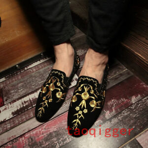 Mens Casual Gold Embroidered Loafers Poiny Toe Hairstylist England Suede Shoes