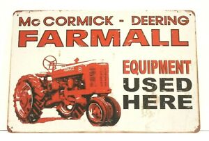 New Farmall Tin Metal Poster Sign Vintage Style Ad Red Tractor Farm Equipment
