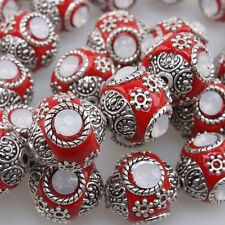 10x Red Imitate Indonesia White Rhinstone Loose Spacer Beads Fit DIY Handmade L