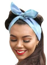 True Vintage Blue Fabric 50s Style Pin Up Bow Head Scarf Bandana