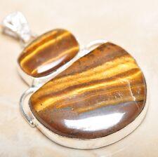 "Handmade Golden Tiger's Eye Gemstone 925 Sterling Silver Pendant 2"" #P14201"
