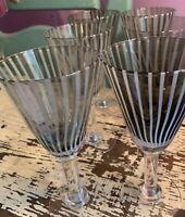 "MCM Barware 8-1/8"" Goblet Smoke Gray Glass with White Stripes - 6"