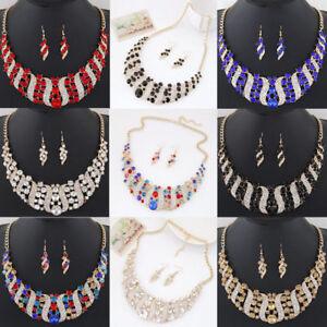 Fashion Women Crystal Spiral Pendant Choker Chunky Bib Necklace Wedding Jewelry