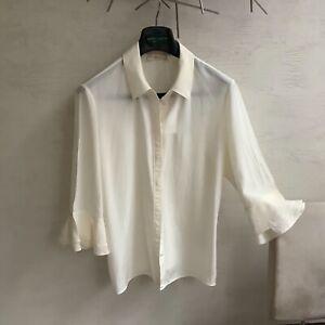 Tory Burch ivory silk shirt fluted sleeve UK14