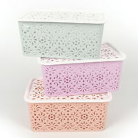 Plastic Storage Basket Box Bin Container Organizer Clothes Laundry Home Hold T&X