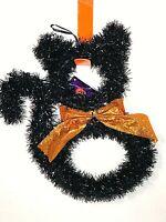 "Cute Tinsel Black Cat Hanging Halloween Decoration 9""X12""W  New"