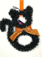 "Tinsel Black Cat Hanging Halloween Decoration 9""X12""W  New"