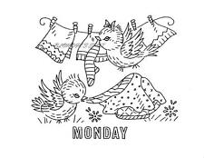 Busy Bluebirds for Days of the Week Kitchen Towels repo Iron on Embroidery