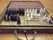 Beautiful Chinese Chess Set w/Leather Case & Brass Hardware-Phonix & Dragon