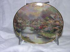 """Thomas Kinkade small plate January Lamplight Bridge Bradford 1998 5.75"""""""