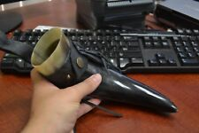 """BUFFALO HORN GAME OF THRONE MEDIEVAL DRINKING CUP LEATHER HOLSTER 10"""" #T-2368D"""