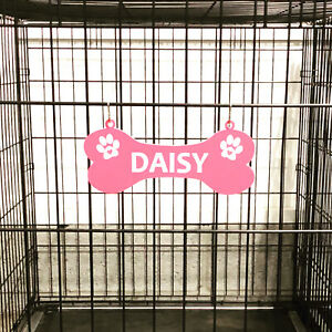 "Kennel Crate Pet Tag Dog Bone Name Plate - Paws with HEARTS - ""S"" Hooks Included"