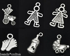 30pcs Mixed Silver Tone Baby Charms Pendants Jewellery For Necklace Bracelet