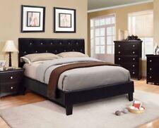 Eastern King Size Bed Black Bedroom Decor Furniture Button Tufted Leatherette