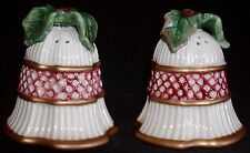 Fitz & Floyd Pottery Christmas Holiday Bell Salt & Pepper Shakers w/ Holly