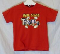 Baby Boys Maddins Red Here Comes Trouble Funny Slogan T-Shirt Age 12-18 Months