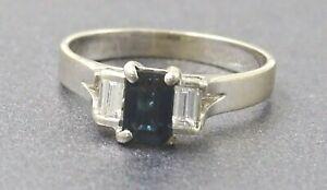 Vintage Womens Sapphire & Diamond Ring Art Deco Style 18k White Gold Jewelry