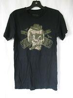 *Lip Service Black/Green Skull Whiskey Bottle Cigar Bat Tee Shirt Rocker Guys L