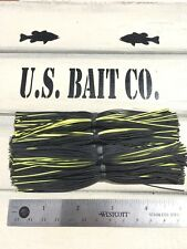 Bass Jig Skirts Living Rubber Lot Of 10 Color Black And Chartreuse