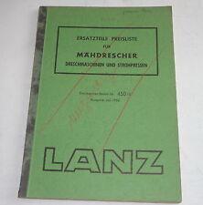 Preisliste Ersatzteile Lanz Mähdrescher Drehmaschine / Strohpresse -  07/1956
