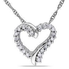 10k White Gold Diamond Heart Pendant Necklace H-I I2-I3