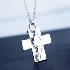 Silver Cross Pendant Necklace Footprints Prayer Christian Jewelry Gift 2017