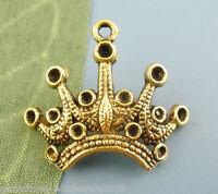 W09 20Pcs Gold Tone Crown Beads Charms Pendants 18x24mm