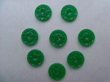 8 GREEN VINTAGE CARVED DESIGN CASEIN SCHWANDA Buttons CRAFTS KNIT SEW NOS 15mm