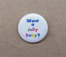 "Doctor Who 'Want A Jelly Baby?' Button 1.25"" Fourth Doctor Tom Baker Dr. Rainbow"
