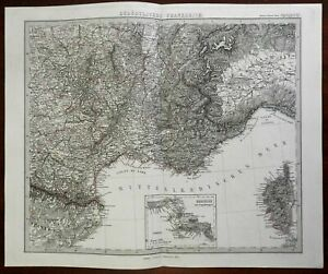 coastal South of France Corsica Toulouse Marseilles Nice 1874 Stieler map