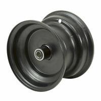 "(4) Black ( 8"" x 5.5"" ) Steel Wheel Rims ~ 3/4"" Bore With Bearings ~ Free Ship!"