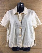 Norton McNaughton Women's Medium Shirt Blouse Beige Linen Cotton Short Sleeve