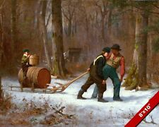 THE MAPLE SYRUP TAP LATE WINTER HARVEST VERMONT PAINTING ART REAL CANVAS PRINT