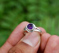 Solid 925 Sterling Silver Ring Anxiety Silver Ring Handmade Amethyst Ring ++++++