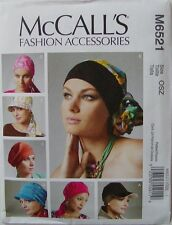 McCalls Sewing Pattern 6521 Misses Headwrap Hats Turban Chemo Hat  Misses XS -L