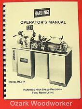 Hardinge Hlv-H Metal Lathe Operator's Manual 0343