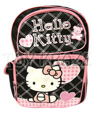 HELLO KITTY BACKPACK! BLACK & WHITE STITCH w/ PINK BEAR SCHOOL BAG SANRIO 16""